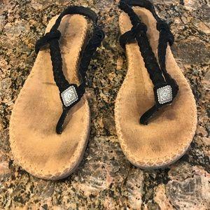 Minnetonka Suede Boho Flip Flop Sandals size 8